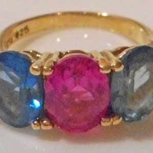 Faux Ruby, Sapphire & Topaz Sterling Vermeil Ring